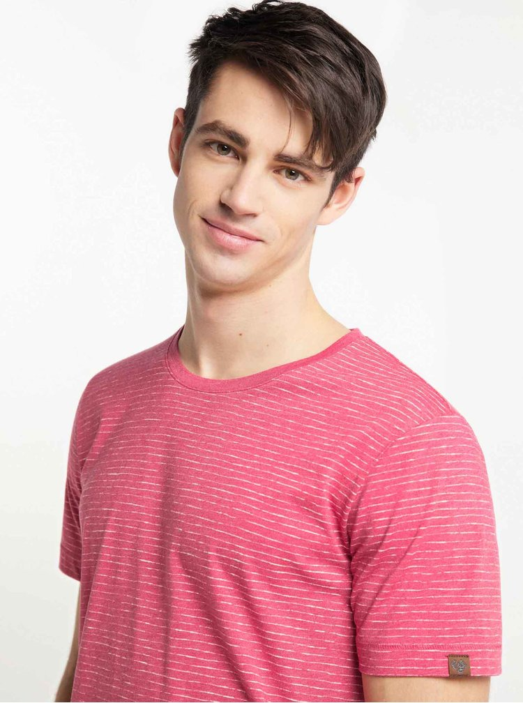 Červené pánské pruhované basic tričko Ragwear Steef