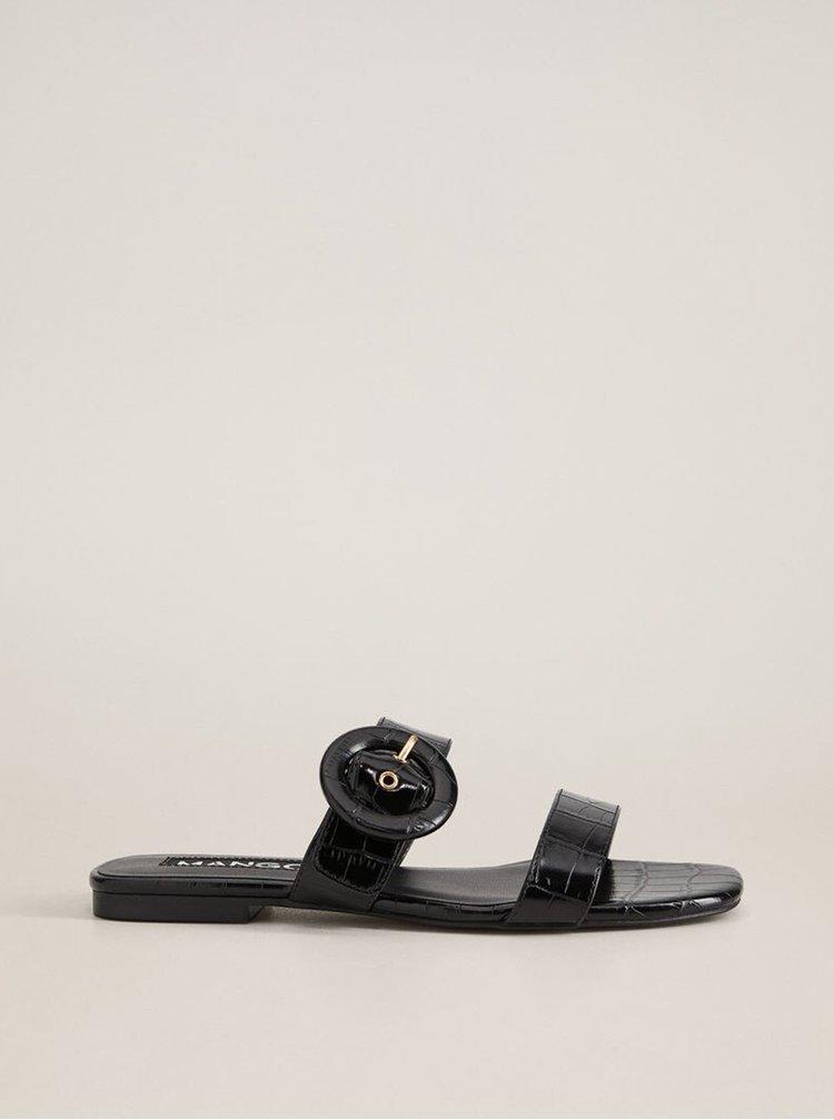 Černé pantofle s krokodýlím vzorem Mango Basilia