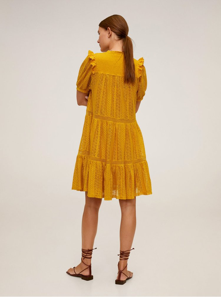 Žluté krajkové šaty Mango Pasion