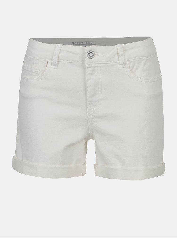 Pantaloni scurti albi din denim Noisy May Be Lucy