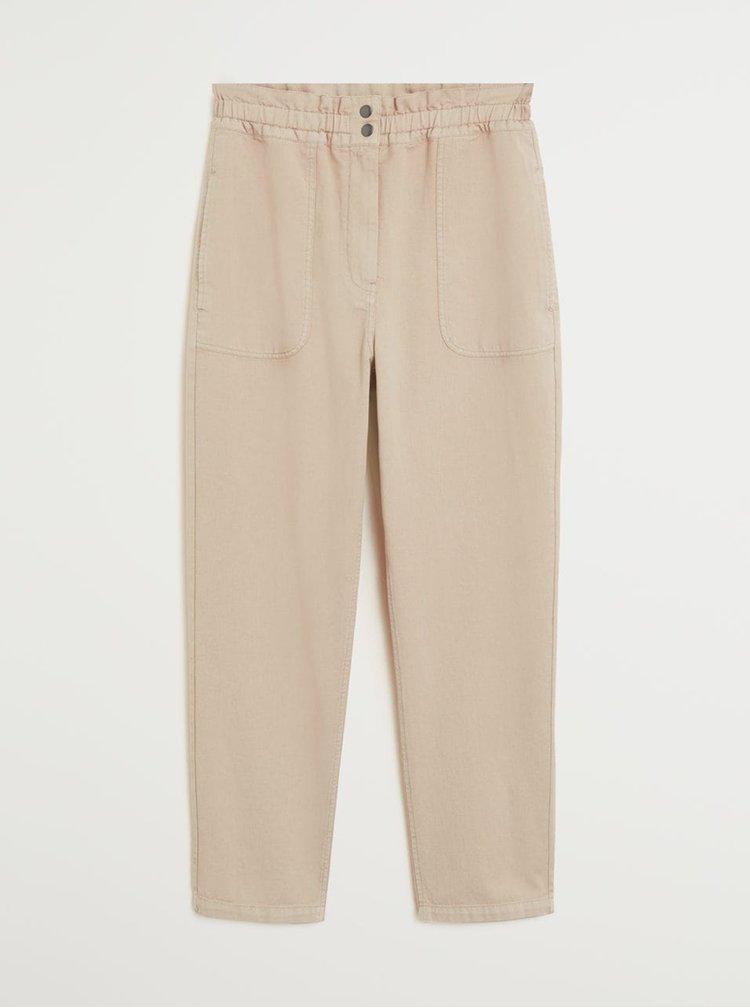 Béžové zkrácené kalhoty Mango Urban