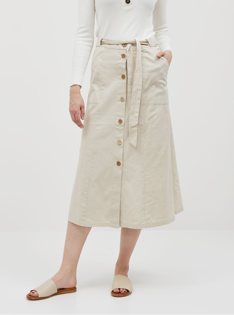 Krémová midi sukně s příměsí lnu Noisy May Hiram