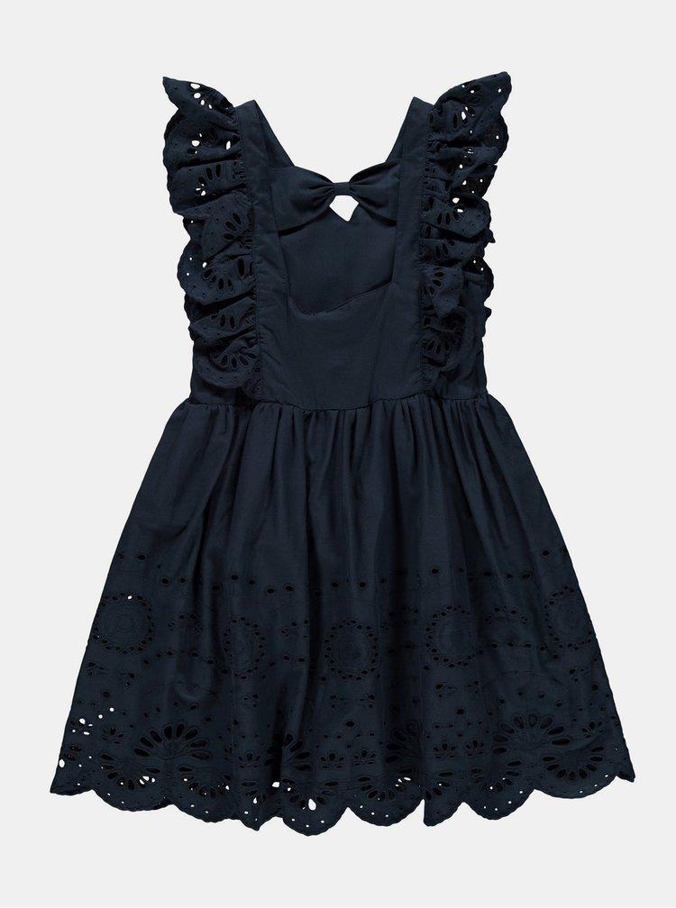Tmavomodré dievčenské šaty s madeirou name it Felicity