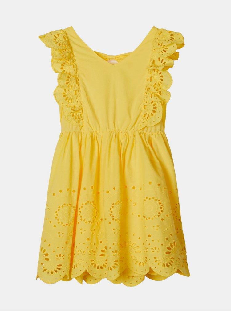 Žluté holčičí šaty s madeirou name it Felicity