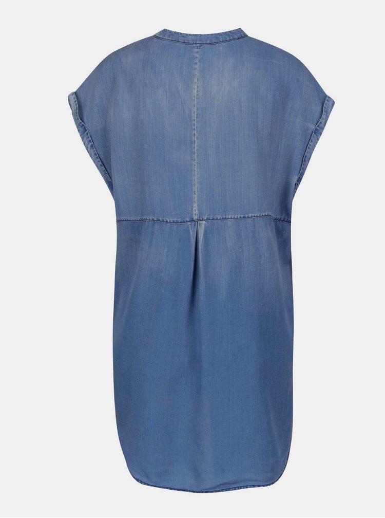 Bluza din denim albastra cu siret la decolteu Scotch & Soda