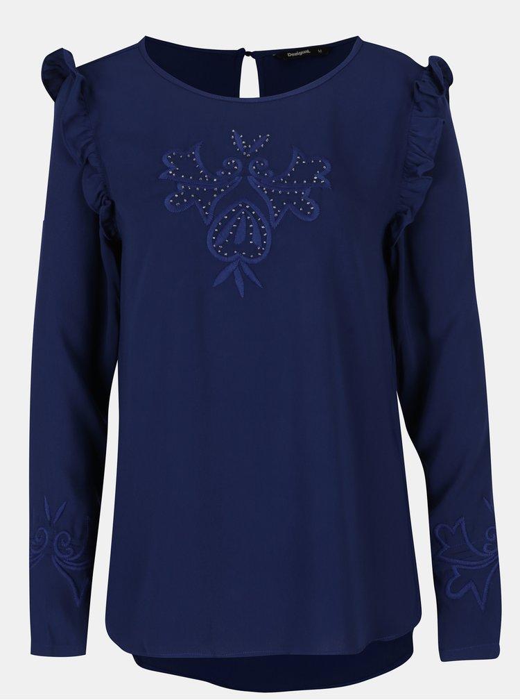 Modrá blúzka s výšivkami a volánmi Desigual Mimosa