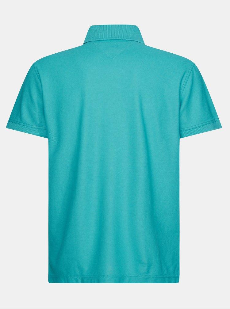 Tyrkysové pánské basic polo tričko Tommy Hilfiger