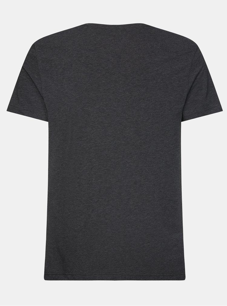Tmavě šedé pánské basic tričko Tommy Hilfiger