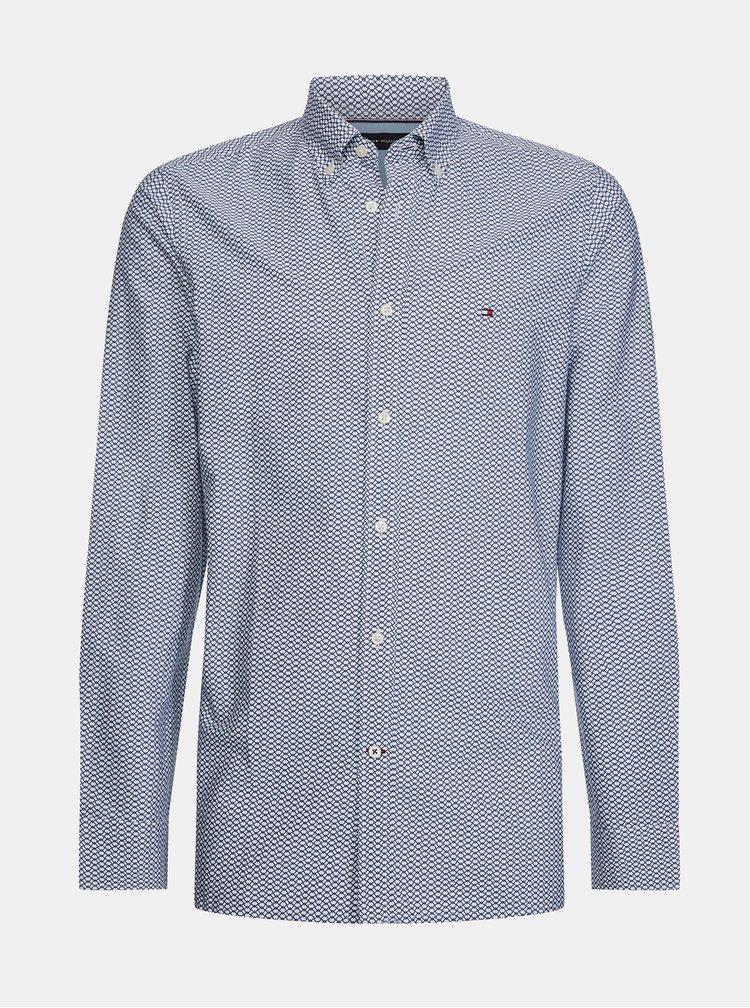 Modrá pánská slim fit košile s drobným vzorem Tommy Hilfiger