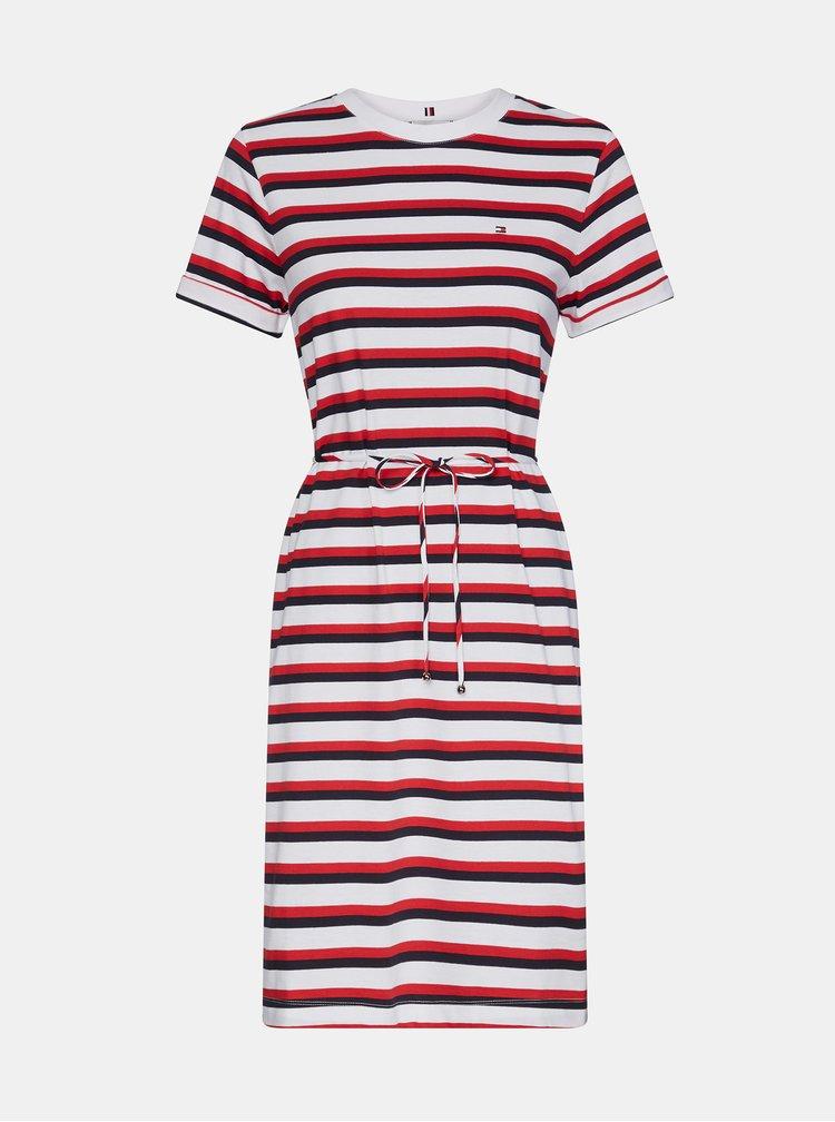 Červeno-bílé pruhované basic šaty Tommy Hilfiger