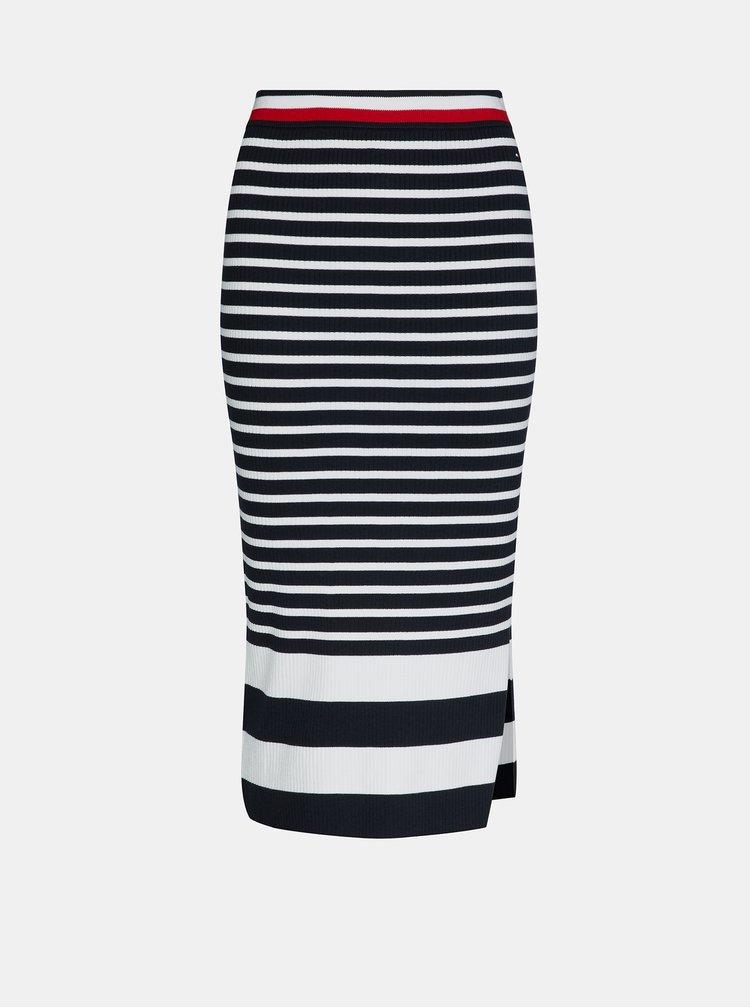 Bílo-modrá pruhovaná midi sukně Tommy Hilfiger
