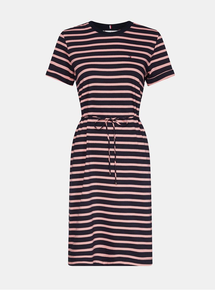 Růžovo-modré pruhované basic šaty Tommy Hilfiger