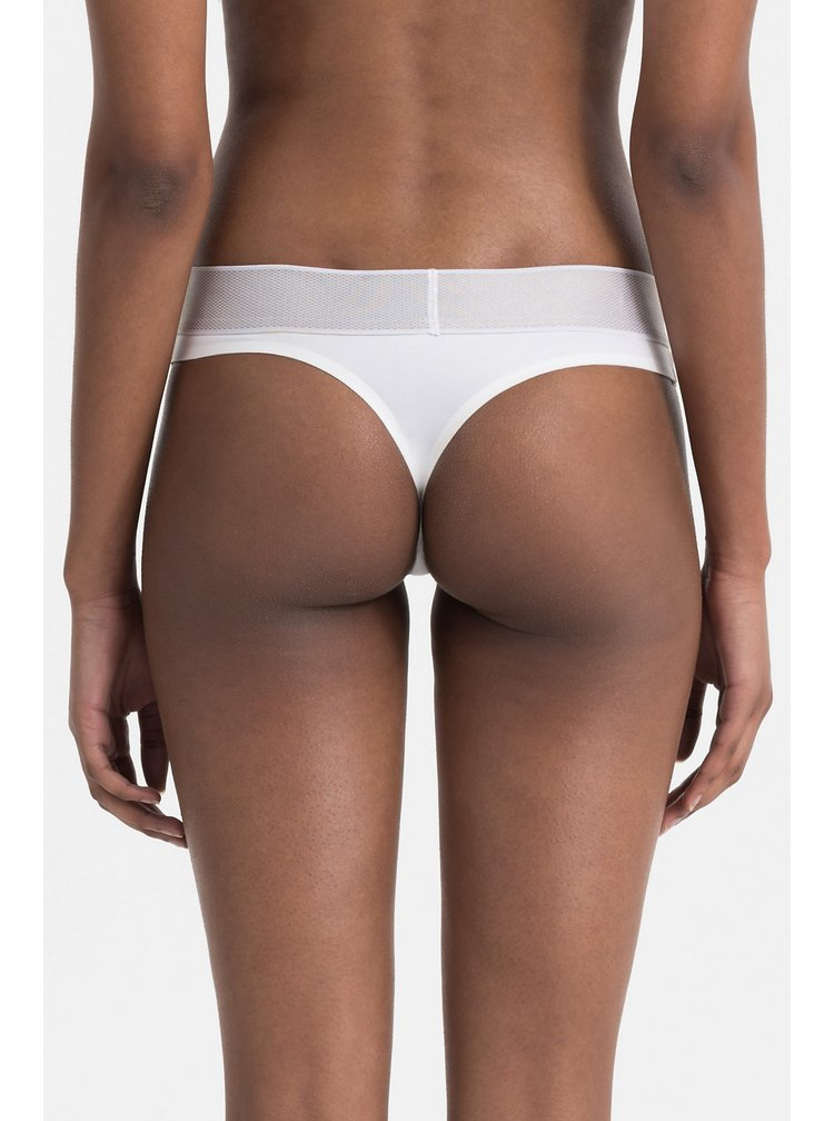 Calvin Klein bílá tanga se stříbrnou gumou Thong