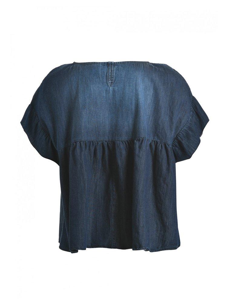Deha tmavě modrý denimový crop top