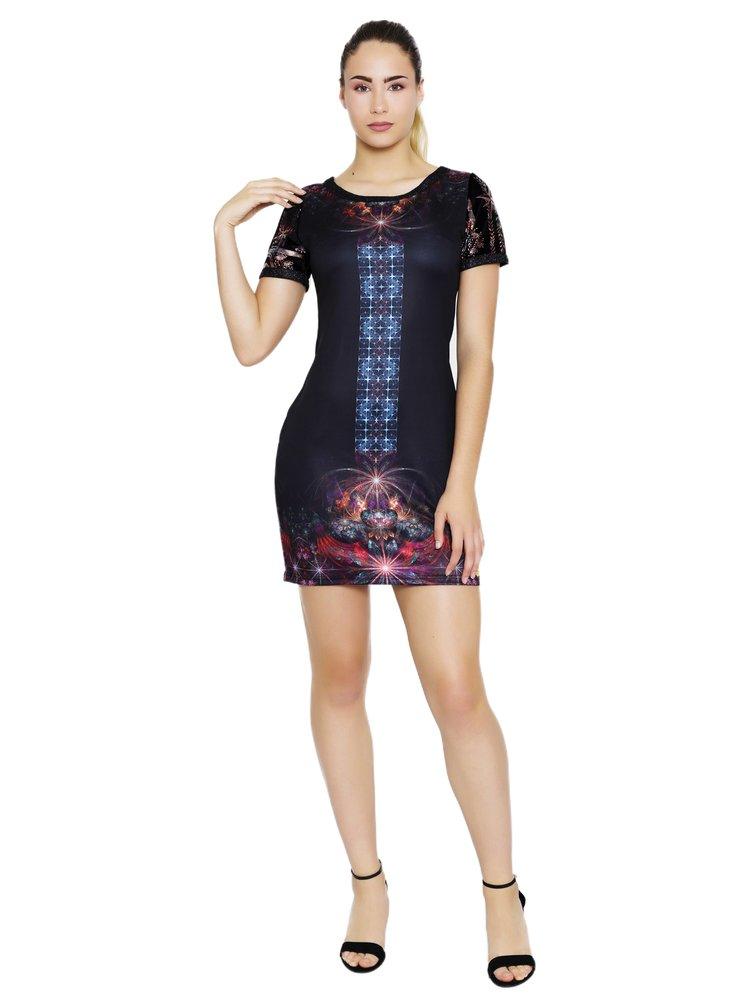 Culito from Spain černé šaty Madonna s barevnými motivy