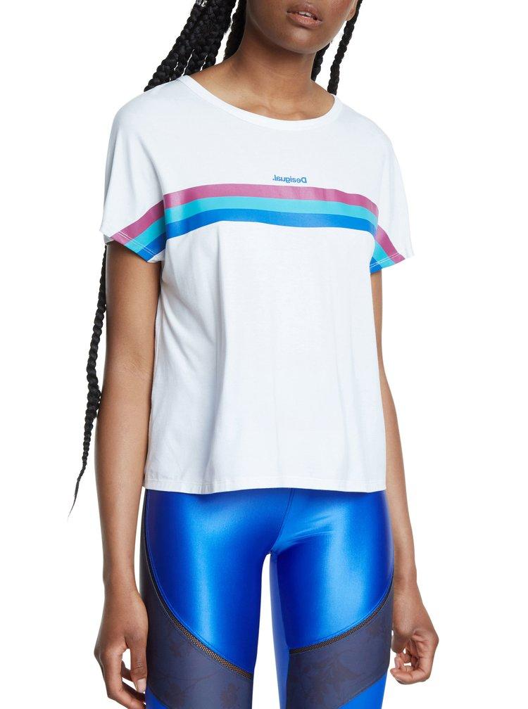 Desigual bílé sportovní tričko Tee Back Pleats Studio