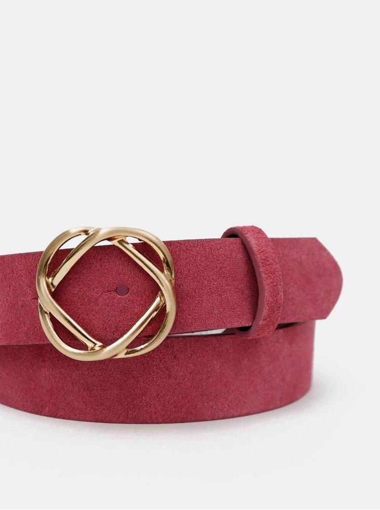 Růžový semišový pásek Pieces Naya