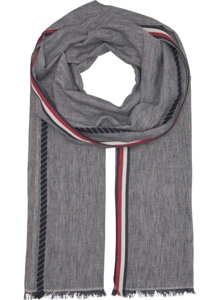 Tommy Hilfiger šedý pánský šátek Corporate Stripe Scarf