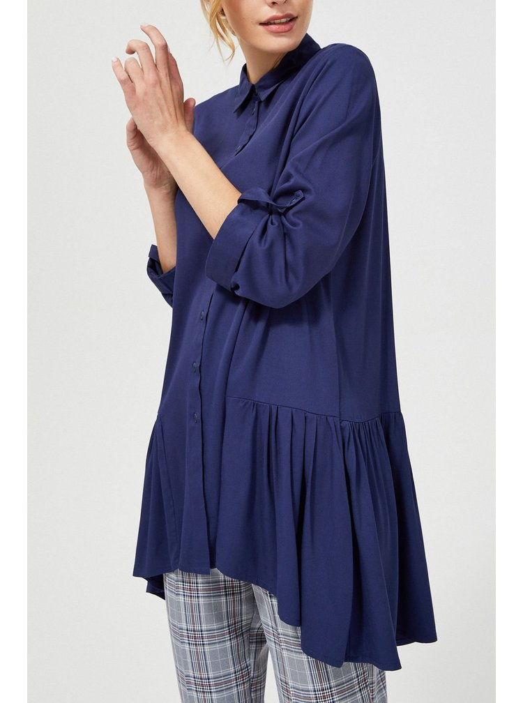 Moodo tmavě modrá oversize košile s prodlouženou zadní částí