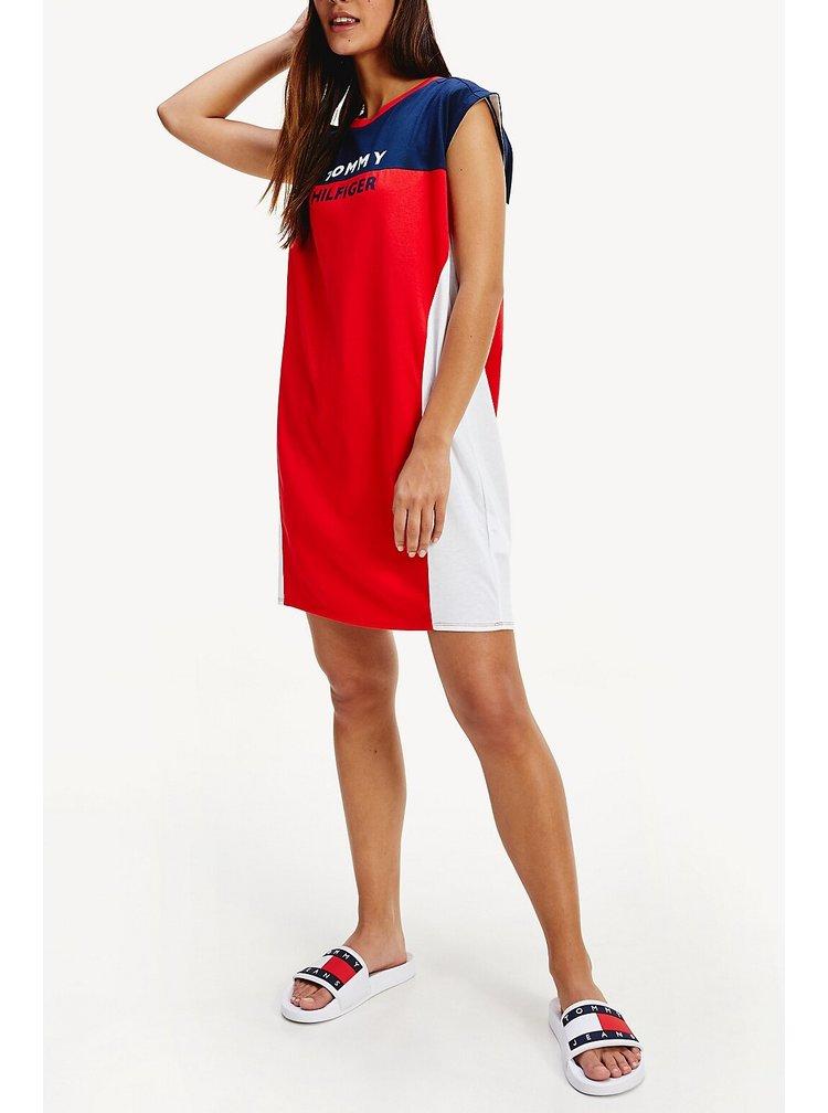 Tommy Hilfiger barevné letní šaty T-shirt Dress Red Glare