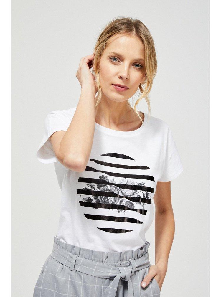 Moodo bílé tričko s černým potiskem