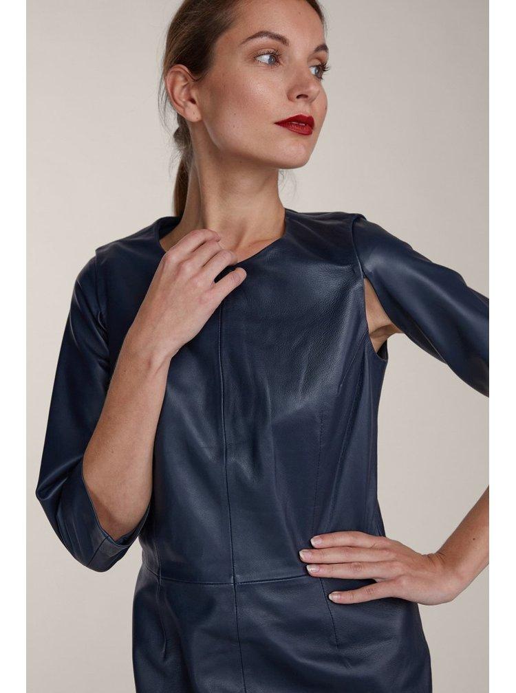 Kara kožené tmavě modré pouzdrové šaty