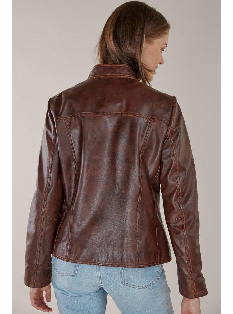 Kara tmavě hnědá kožená bunda