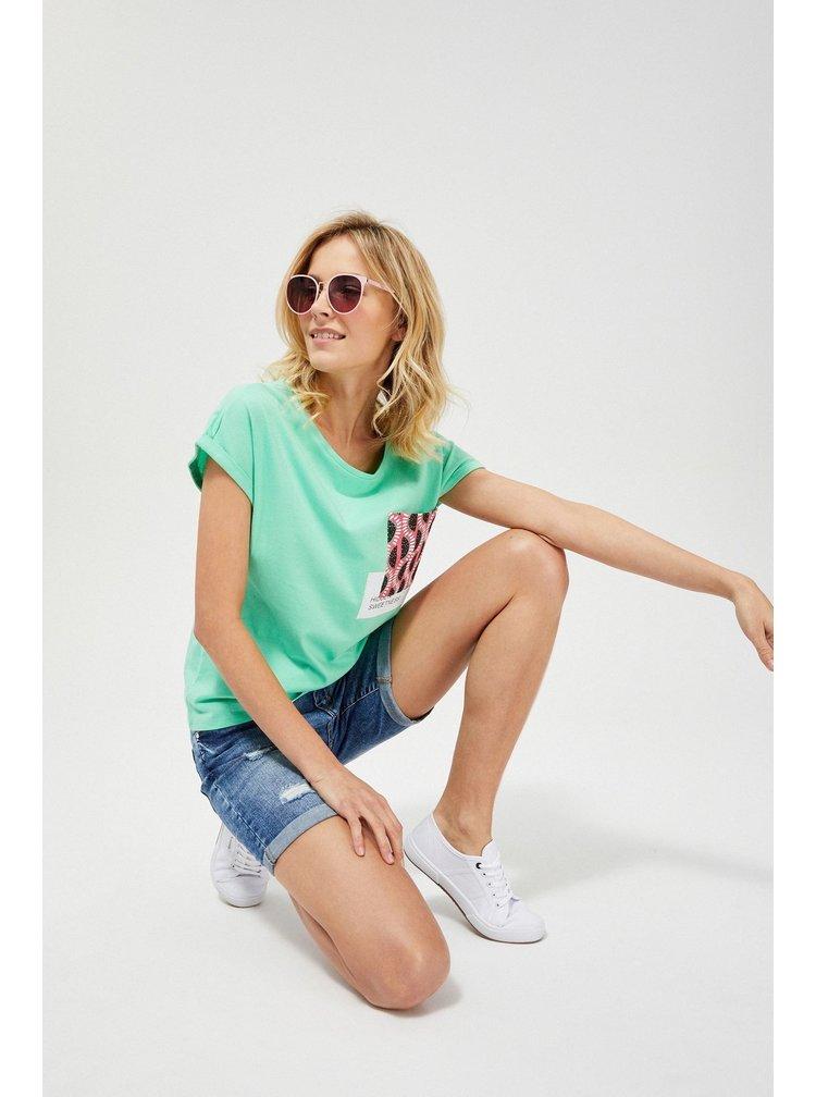 Moodo zelené tričko s kapsou potištěnou melouny
