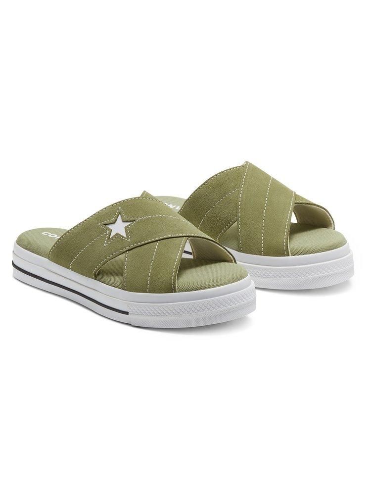 Converse khaki kožené pantofle One Star Sadalism