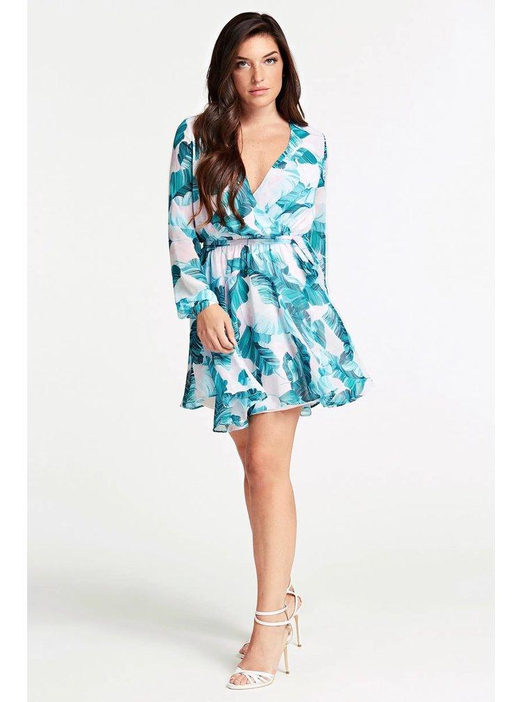 Guess tyrkysovo-bílé šaty Georgette