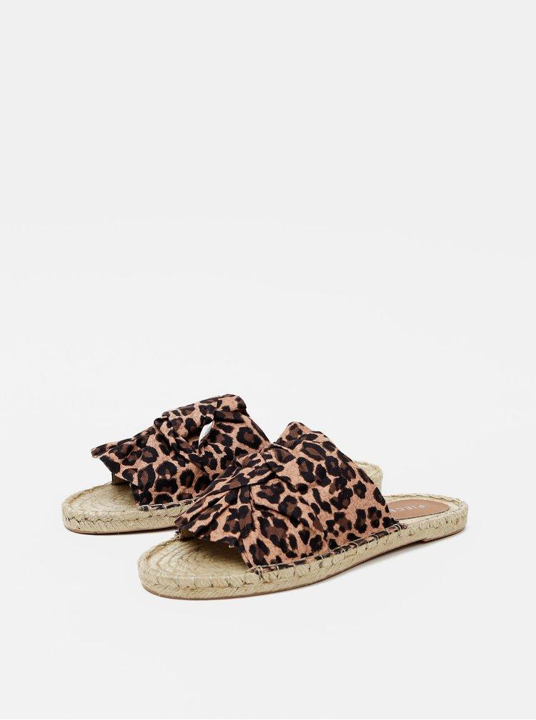 Hnědé vzorované jutové pantofle Pieces Alira
