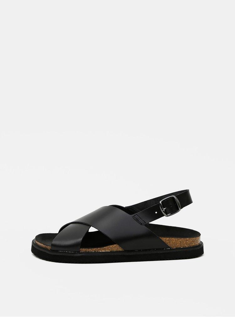 Černé kožené sandály Pieces Alexa