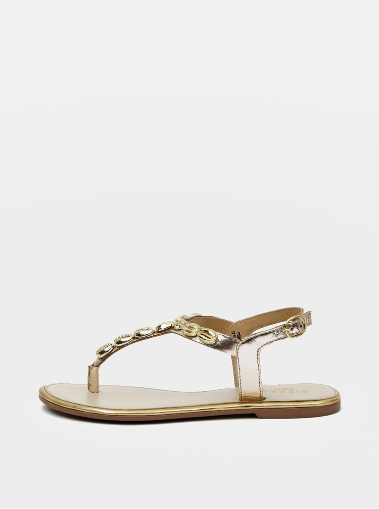 Kožené sandály ve zlaté barvě Pieces Aggies