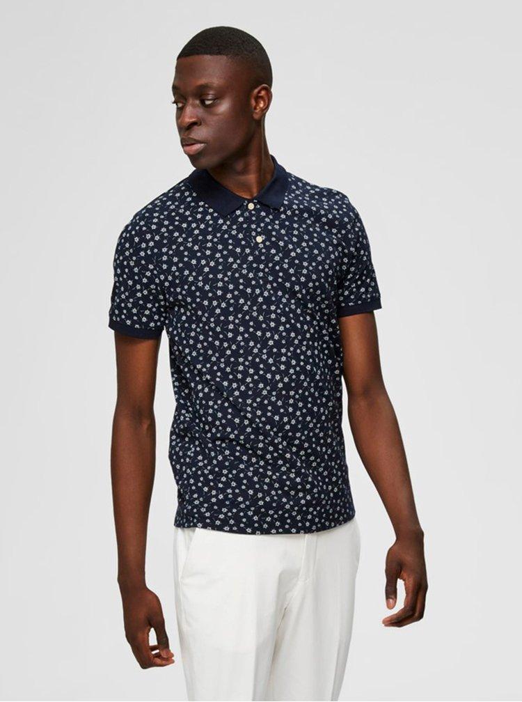 Tmavě modré vzorované polo tričko Selected Homme Dixon