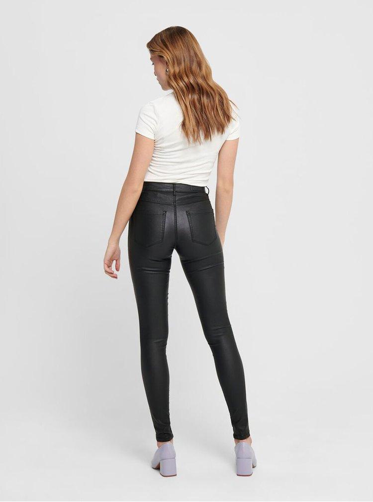 Čierne lesklé skinny nohavice ONLY