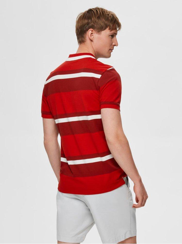 Červená pruhovaná polokošeľa Selected Homme Aro