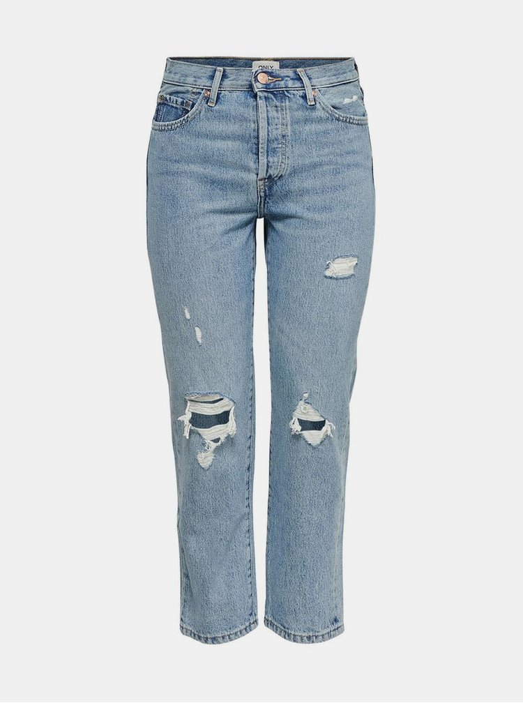 Modré zkrácené straight fit džíny ONLY Fine