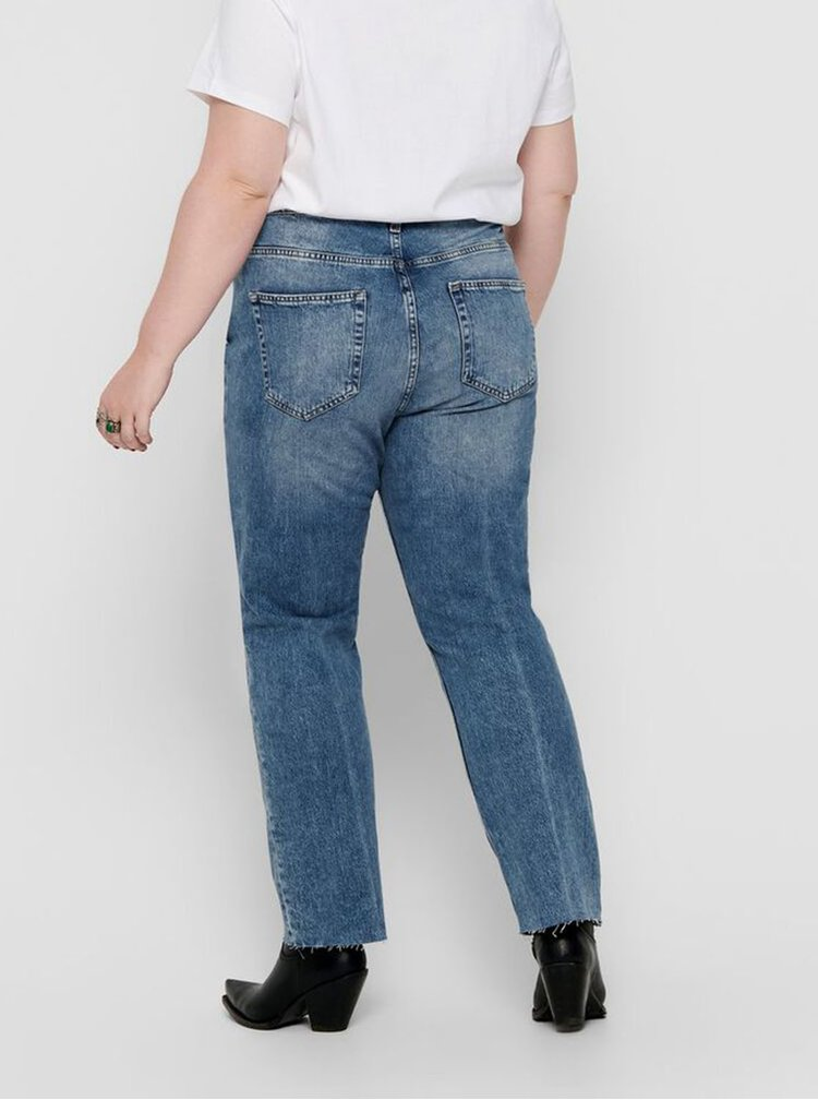 Modré straight fit džíny ONLY CARMAKOMA Oxy