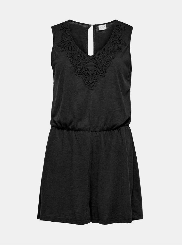 Černý krátký overal s krajkou Jacqueline de Yong Dodo