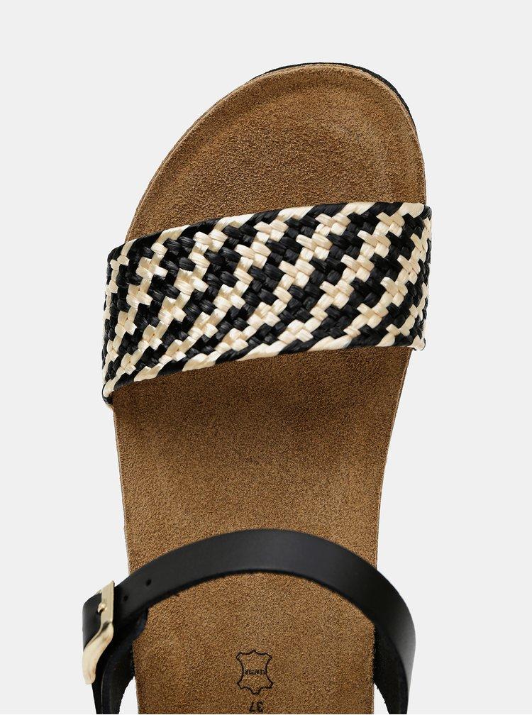 Černé dámské kožené sandálky OJJU