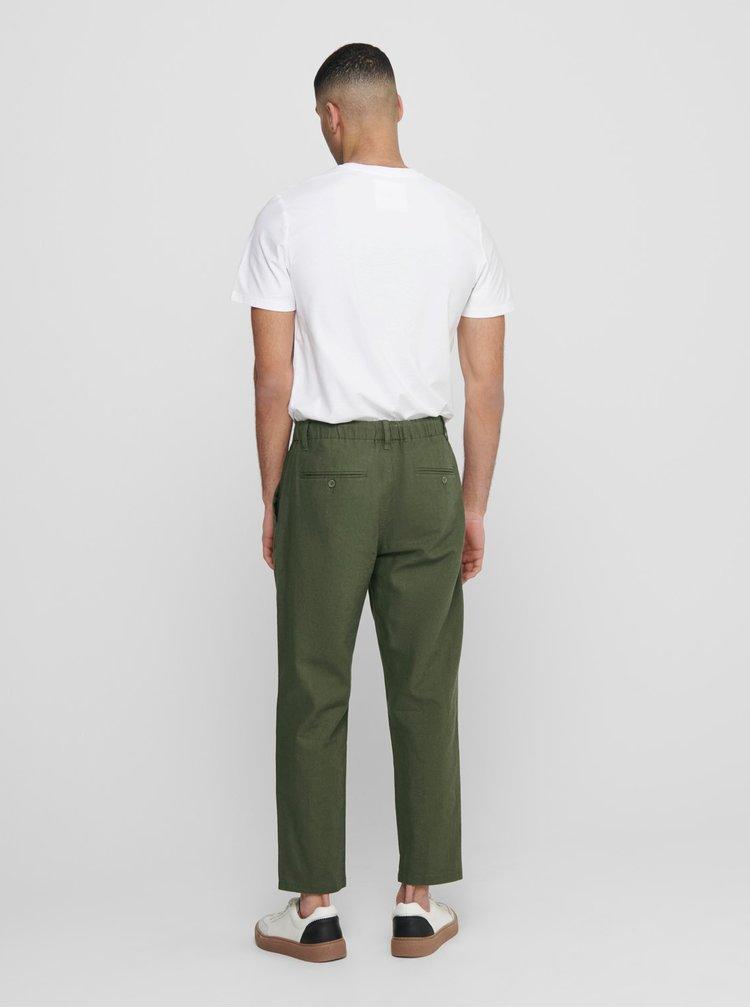 Pantaloni casual pentru barbati ONLY & SONS - verde inchis