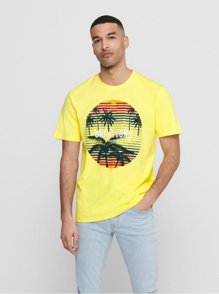Žluté tričko ONLY & SONS Kuba