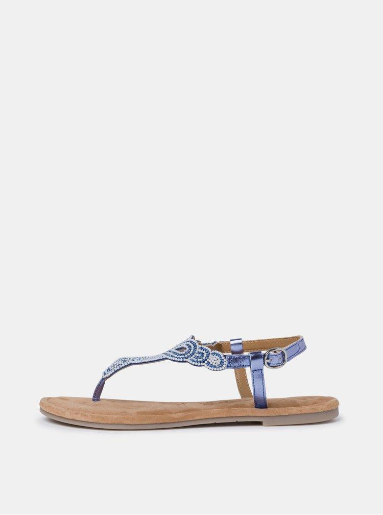 Modré kožené sandály s korálky Tamaris