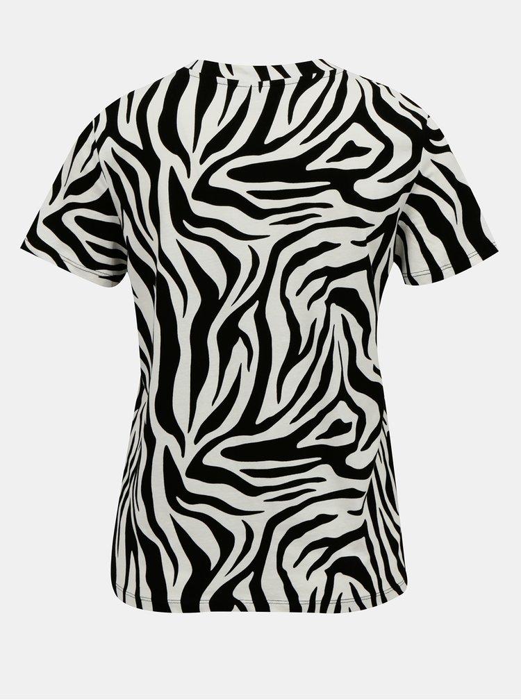 Krémovo-čierne tričko so zebrím vzorom Jacqueline de Yong Diana