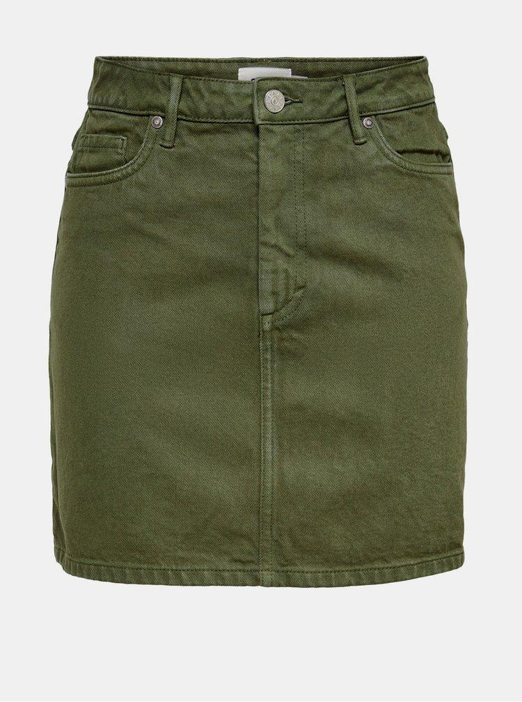 Tmavě zelená džínová sukně ONLY Rose