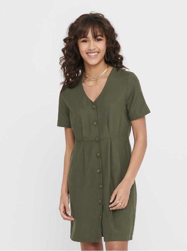 Tmavě zelené šaty s příměsí lnu ONLY Viva