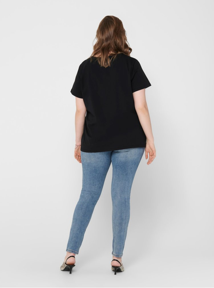 Černé tričko s příměsí lnu ONLY CARMAKOMA Jungle
