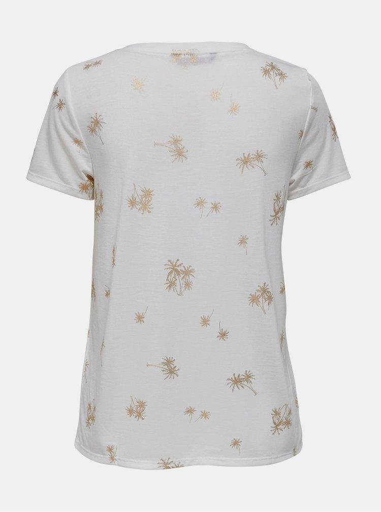 Biele vzorované tričko ONLY Ibbi