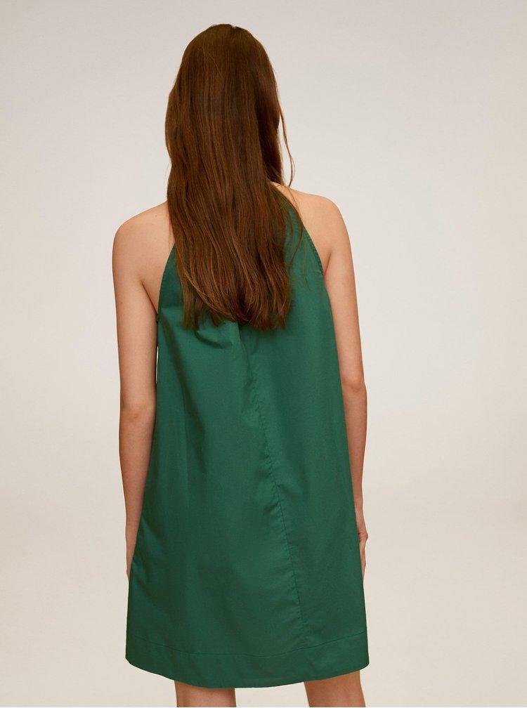 Zelené šaty s mašlí Mango Mireia