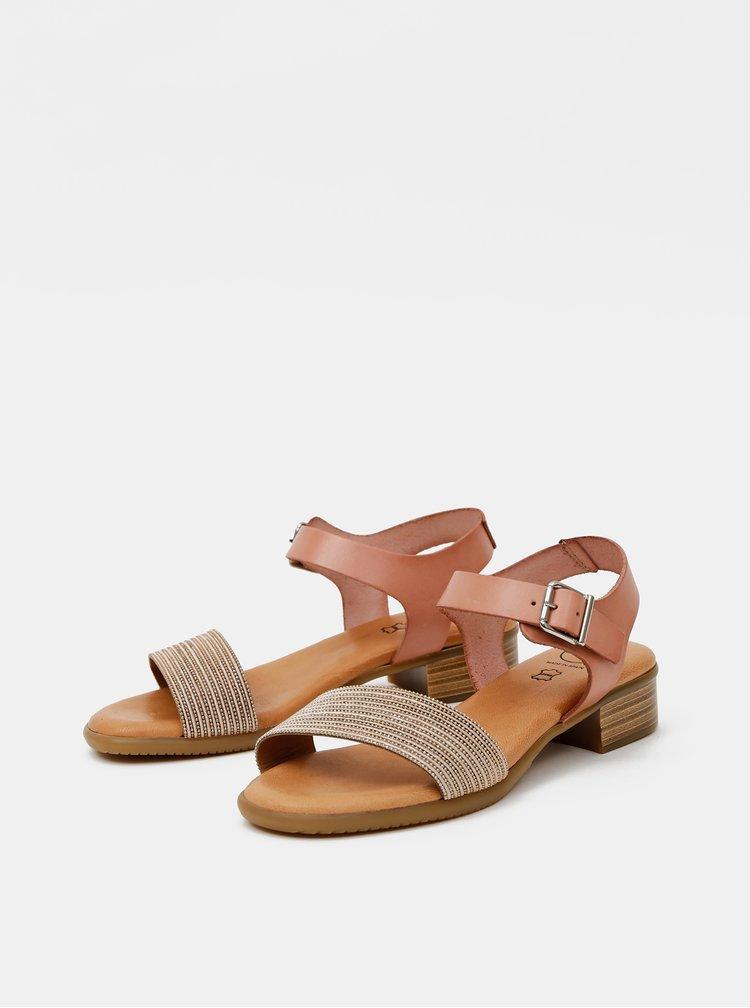 Starorůžové kožené sandálky OJJU